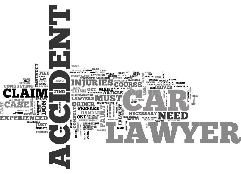 Quand si vous instruisez un avocat Word Cloud d'accident de voiture illustration stock