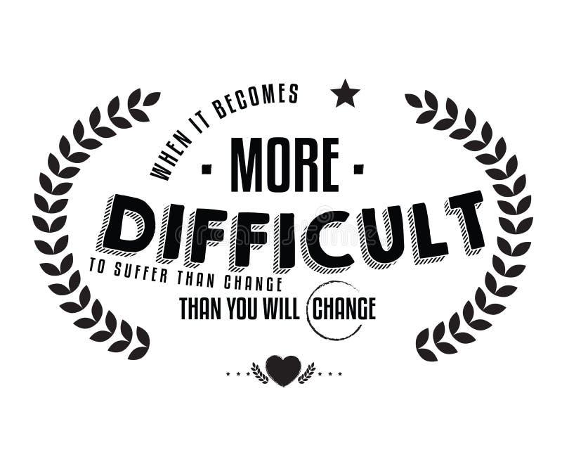 Quando diventa più difficile da soffrire che il cambiamento -- poi cambierete illustrazione di stock