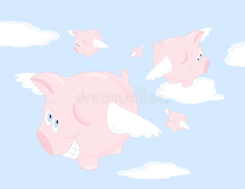 Quando i maiali volano? illustrazione di stock