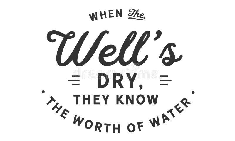 Quando o ` bom s seco, eles conhecer o valor da água ilustração royalty free