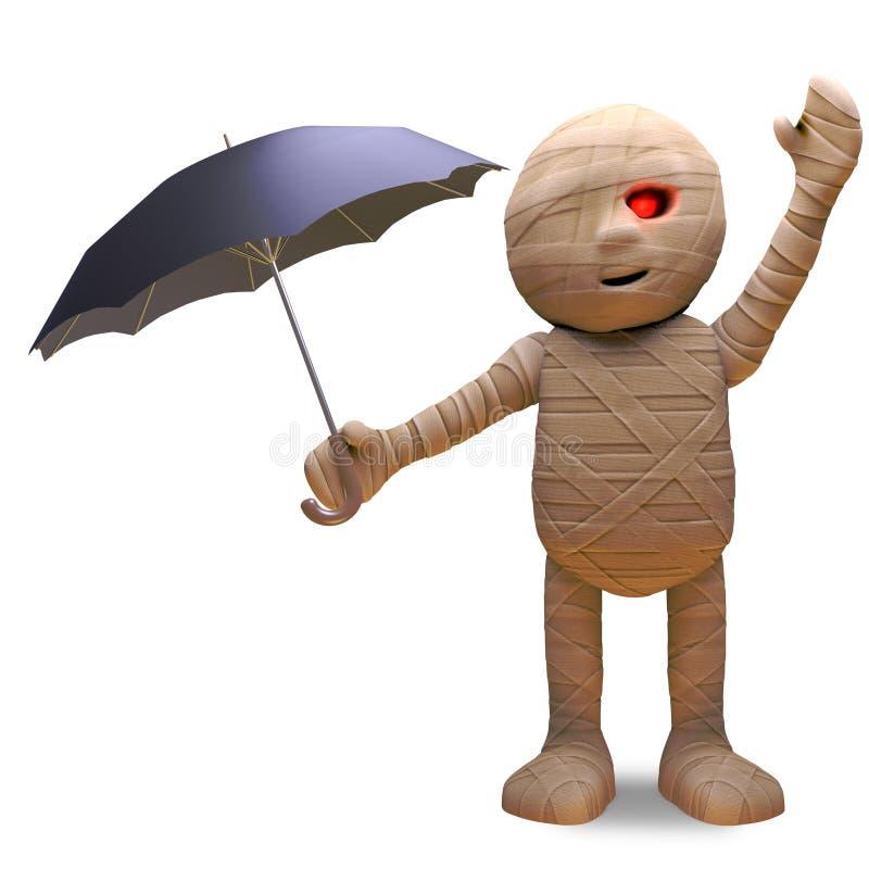Quando seu chover, monstro egípcio da mamã usar um guarda-chuva, a ilustração 3d ilustração stock