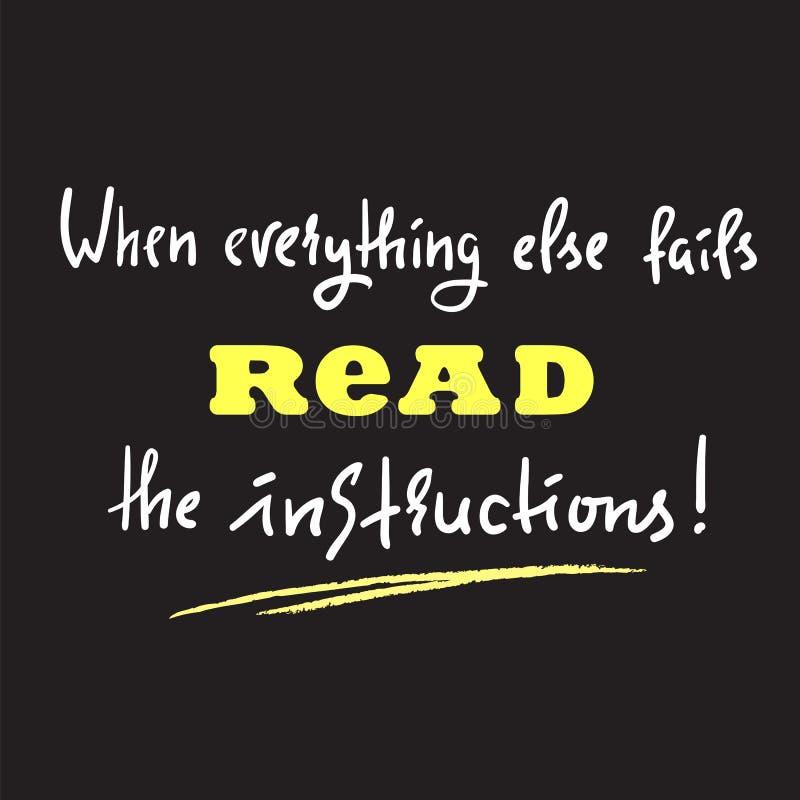 Quando tudo mais falha leia as instruções - simples inspire e inspirador cite ilustração royalty free