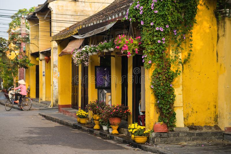 Quang Nam, Vietnam - Apr 2, 2016: Old aged house with yellow wall and flower pots against cycling woman on background. Hoi An is U. NESCO site royalty free stock images