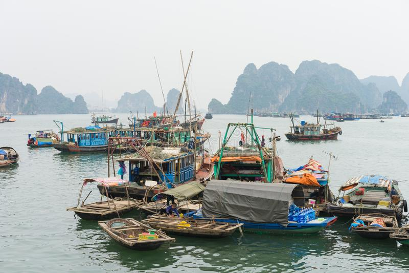 Quang Ninh, Βιετνάμ - 22 Μαρτίου 2015: Ψαροχώρι Bai TU στο μακρύ κόλπο, δίπλα στο μακρύ κόλπο εκταρίου Πολλοί άνθρωποι με την οικ στοκ φωτογραφίες με δικαίωμα ελεύθερης χρήσης