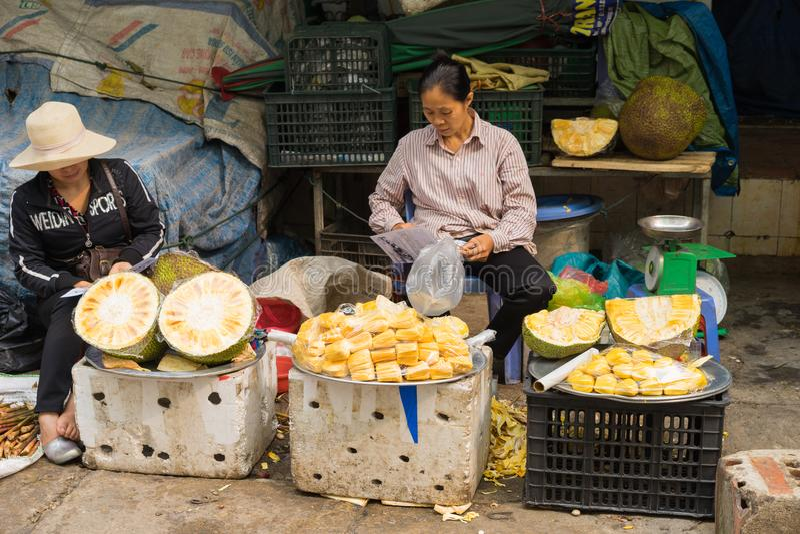 Quang Ninh, Vietnam - 22 mars 2015 : Stalle de jacquier au marché à terme d'ha, ville long d'ha image stock