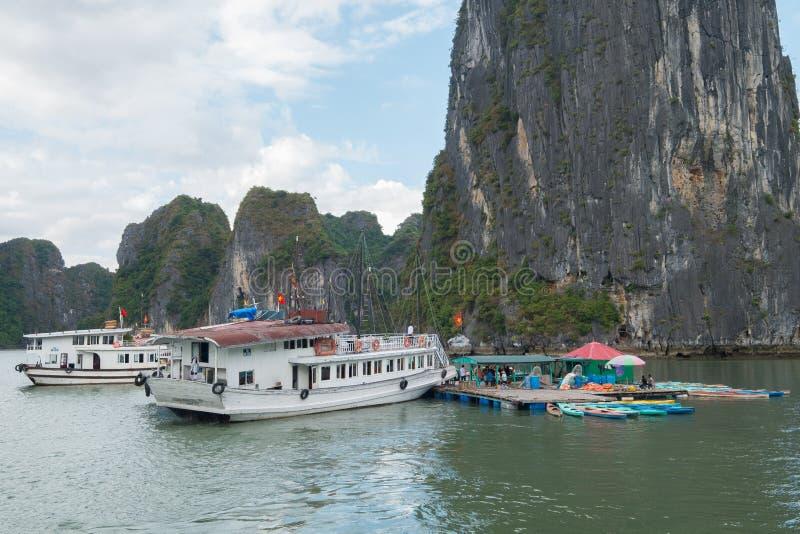 Quang Ninh, Vietnam, Nov 12, 2015 Boats and Kayak in Halong Bay royalty free stock photos