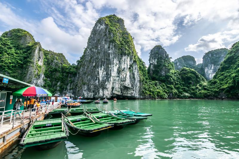 Quang Ninh, Vietnam, October 14, 2018: View of wooden boat trip through Luon Cave and Lake in Ha Long Bay - The wold heritage site royalty free stock image