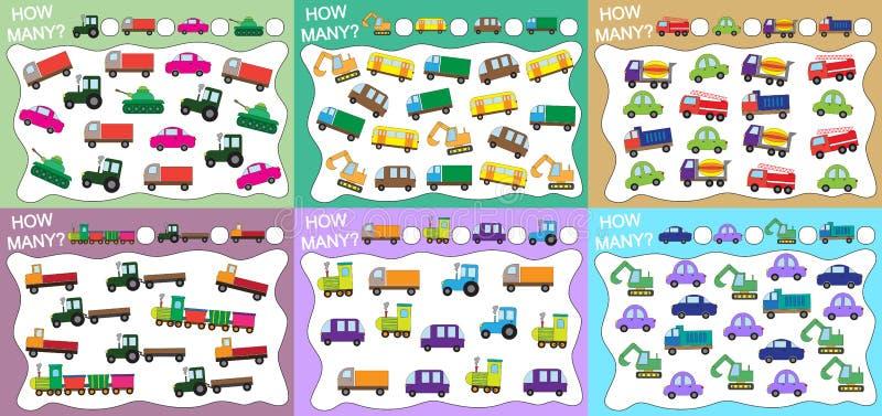 Quanti oggetti trasportano contato? Metta dei giochi educativi per i bambini 6 in 1 Illustrazione di vettore royalty illustrazione gratis