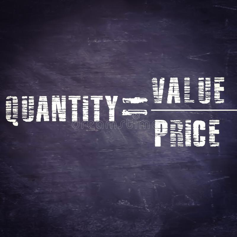 quantity equal to value upon price equation displayed on chalkboard concept stock illustration