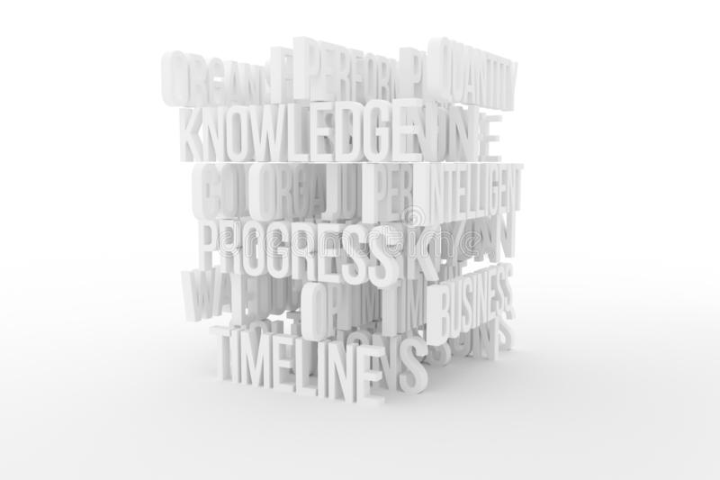 Quantity, Intelligence, business conceptual gray or black and white B&W 3D rendered words. Design, title, backdrop & cgi. Quantity, Intelligence, business royalty free illustration