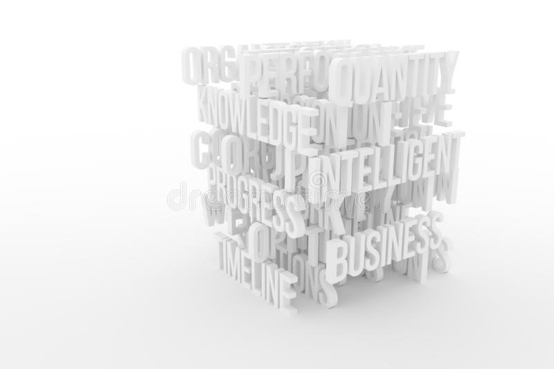 Quantity, Intelligence, business conceptual gray or black and white B&W 3D rendered words. Illustrations of CGI typography, good for graphic design, wallpapers royalty free illustration