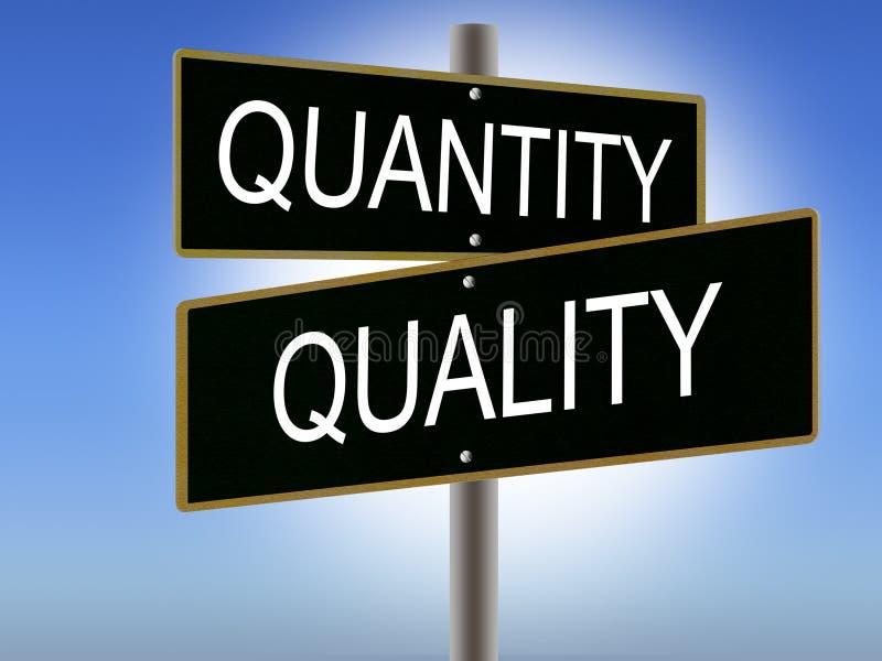 Quantity Vs Quality Road Signs stock illustration