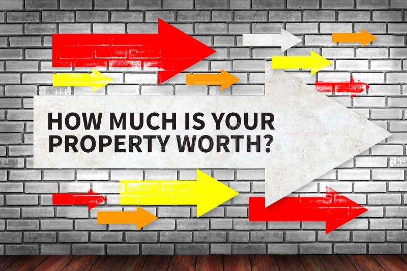 Quanto é seu valor da propriedade? fotografia de stock