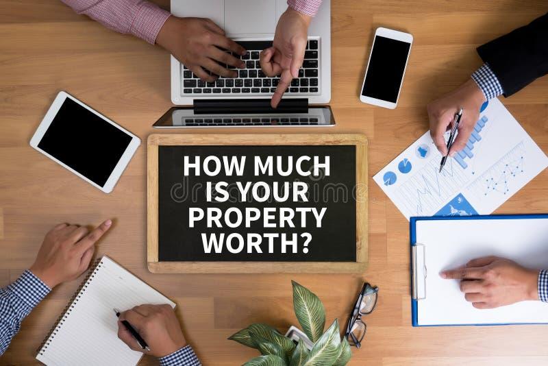 QUANTO É SEU VALOR DA PROPRIEDADE? fotos de stock royalty free