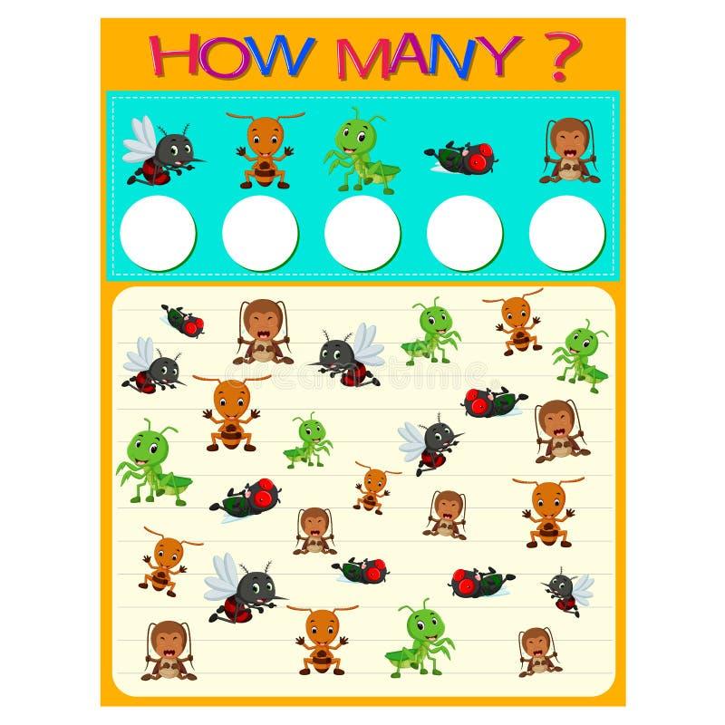 Quanto foglio di lavoro con molti insetti royalty illustrazione gratis