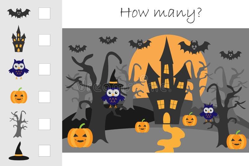 Quanto que contam o jogo, o Dia das Bruxas para crianças, as matemáticas educacionais encarregam para o desenvolvimento do pensam ilustração stock