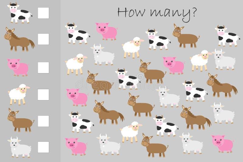 Quantos jogos de contagem, animais de fazenda para crianças, tarefa de matemática educacional para o desenvolvimento de pensamen ilustração royalty free