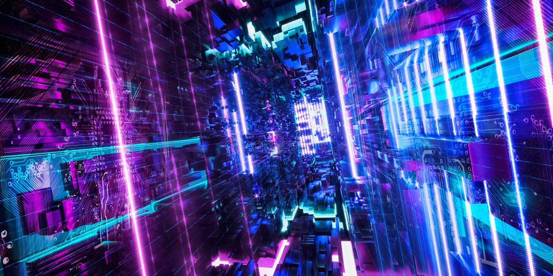 Quantum计算机,存贮,虚拟现实,未来派桃红色蓝色霓虹灯 3d?? 库存例证