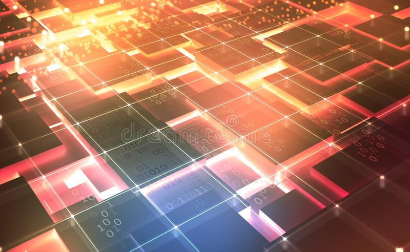 Quantum计算机体系结构 网际空间摘要概念 Blockchain?? 向量例证