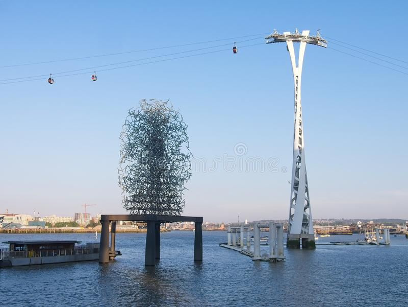 The Quantum Cloud on a plinth on the River Thames. The Quantum Cloud, a contemporary sculpture by Anthony Gormley on a plinth on the River Thames in London. The stock images