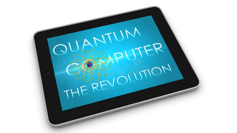 Quantum computer The revolution of computing. 3d render of mobile device - tablet. Screens display a blue background image branded Quantum computing . The stock images