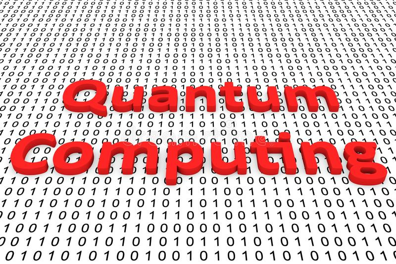 Quantum computing. In binary code, 3D illustration vector illustration