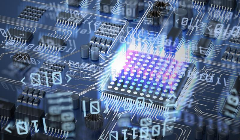 Quantum computing concept. Circuit and qubits in background. 3D rendered illustration. royalty free illustration