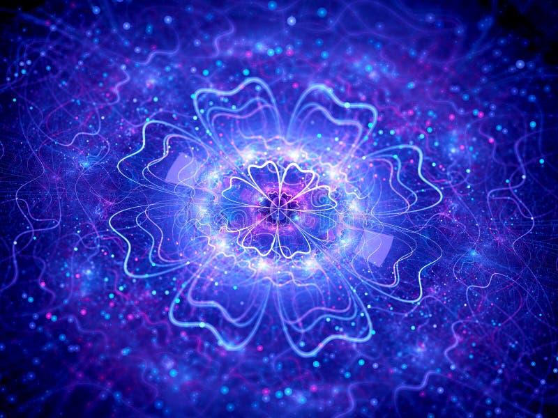Quantum de incandescência azul com partículas ilustração do vetor