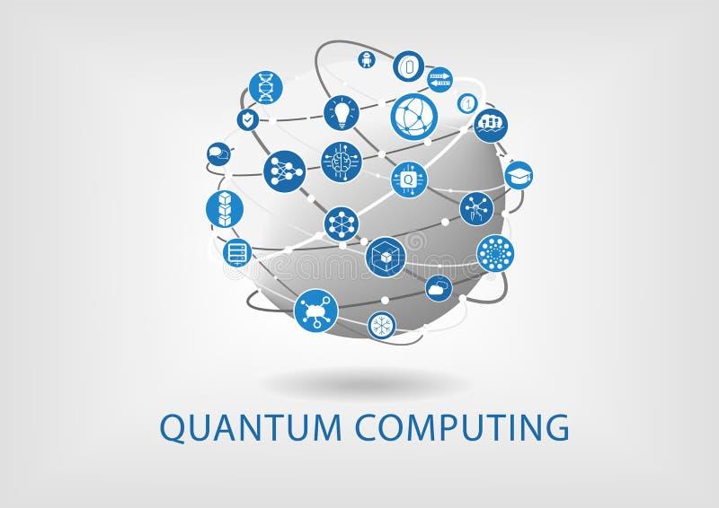 Quantum die vectorillustratie met verbonden wereld gegevens verwerken royalty-vrije illustratie