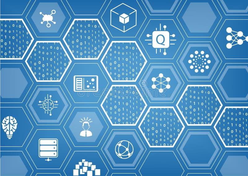 Quantum die vectorillustratie op blauwe achtergrond met hexagonale vormen en pictogrammen gegevens verwerken royalty-vrije illustratie
