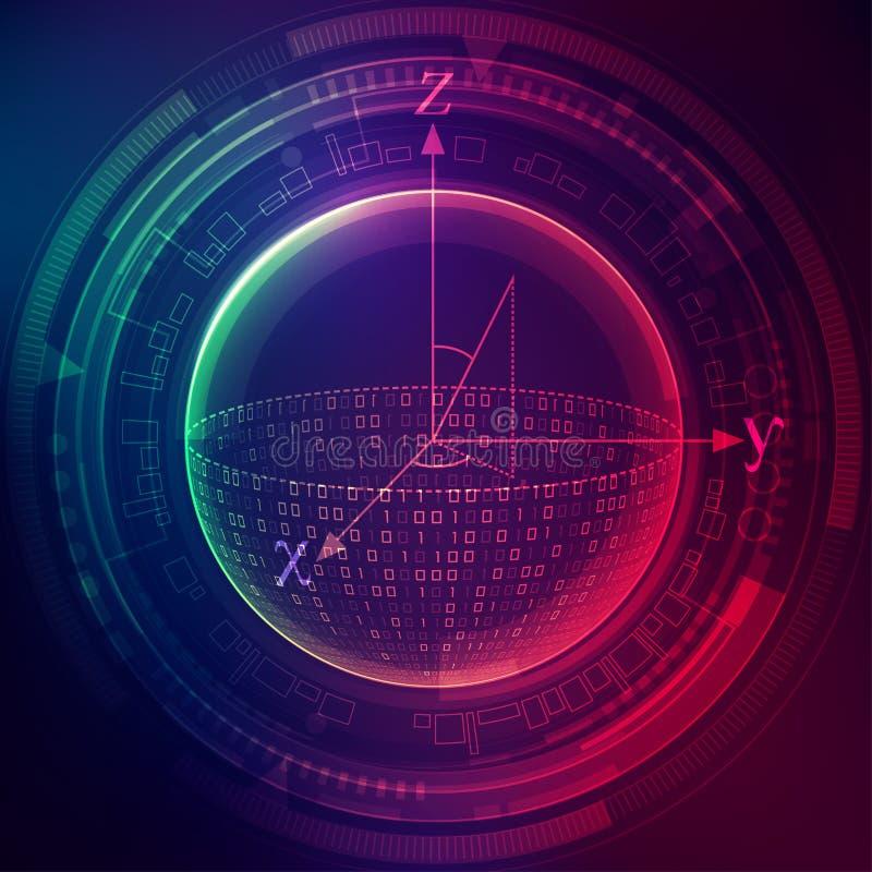 Quantum gegevensverwerking stock illustratie