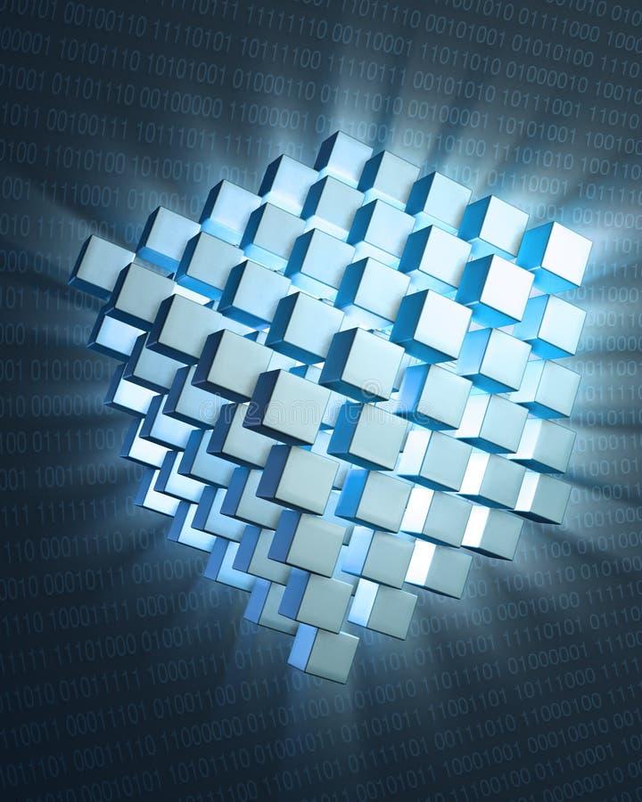 Quantum gegevensverwerkingsconcept royalty-vrije illustratie