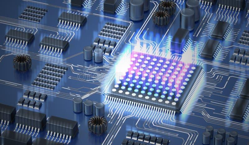 Quantum gegevensverwerkingsconcept Bewerker van quantumcomputer 3D teruggegeven illustratie stock illustratie