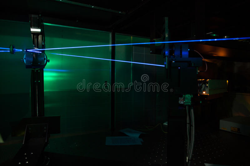 In a quantum optics lab. Lasers in a quantum optics lab stock images