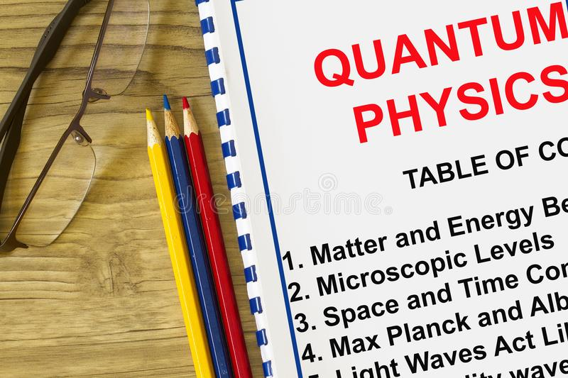 Quantum physics definition concept. Complete with index of a lecture on quantum physics royalty free stock image