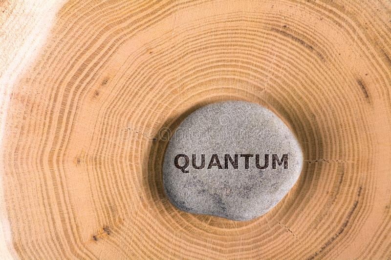 Quantum in stone on tree. Quantum in stone on section of the trunk with annual rings royalty free stock photos