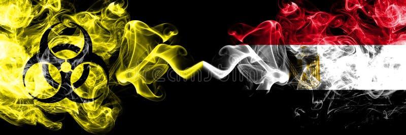 Quarantäne in Ägypten, Ägypten Coronavirus COVID-19 - Abschalten Smoky-mystische Flagge Ägyptens, Ägypter mit Biogefahrensymbol p lizenzfreie abbildung