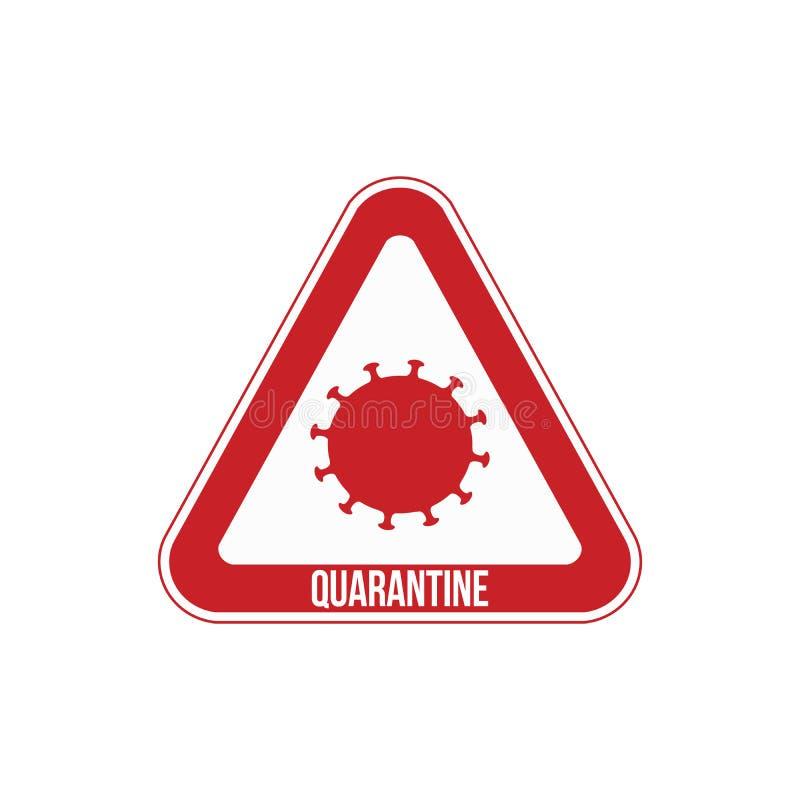 Quarantänezeichen, das die Grenzen der Quarantänezone anzeigt Vector-Illustration lizenzfreie abbildung