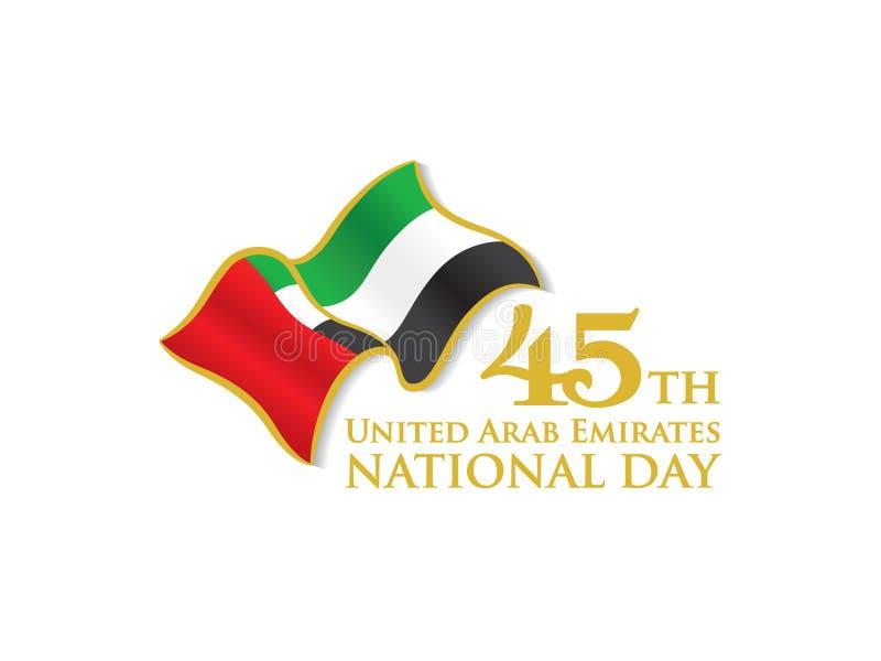 Quarantacinquesimo logo di festa nazionale dei UAE con la bandiera d'ondeggiamento illustrazione vettoriale