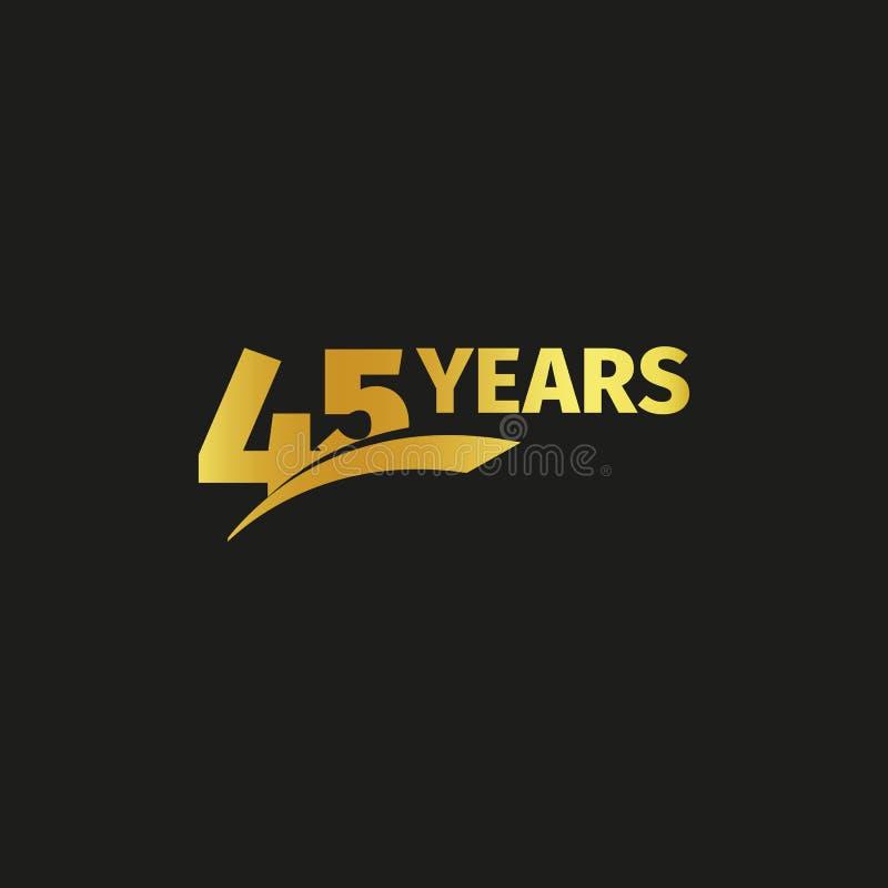 Quarantacinquesimo logo dorato astratto isolato di anniversario su fondo nero un logotype di 45 numeri Quarantacinque anni di giu royalty illustrazione gratis