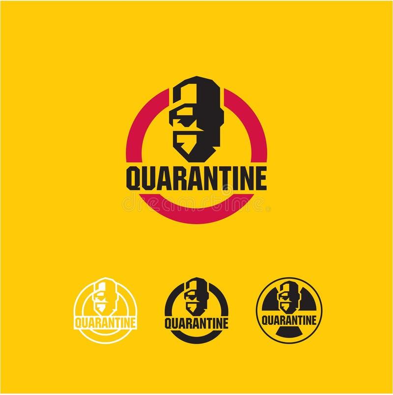 Quarantaine, virus, chirurgien, icône de docteur, signe de masque protecteur, secteur de biohazard, radioactif illustration stock