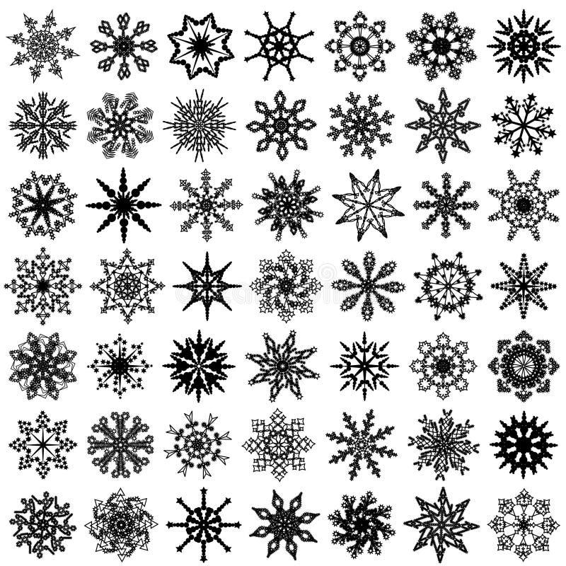 Quarantanove fiocchi di neve di vettore. royalty illustrazione gratis