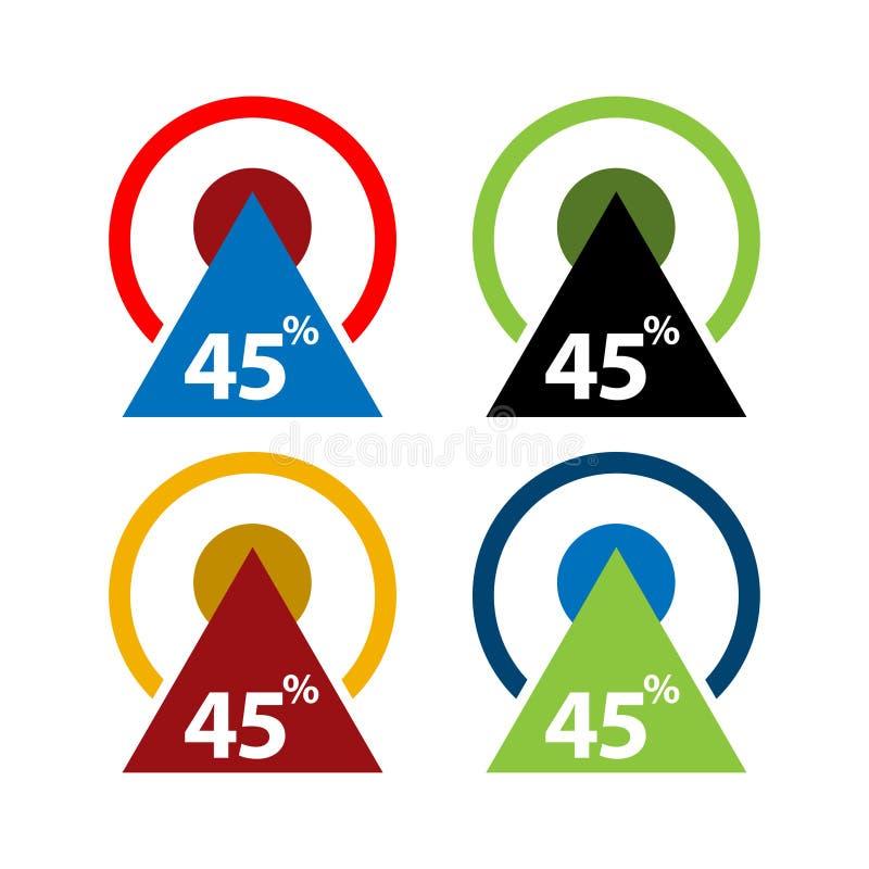 quarante-cinq pour cent, illustration ascendante de flèche illustration stock