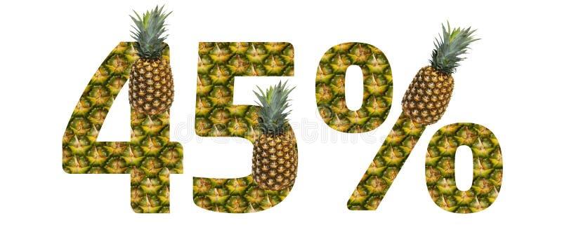 Quarante-cinq pour cent ont fait à partir de l'ananas sur un fond blanc Nourriture d'?t? de r?gime d'ananas de fruit tropical illustration de vecteur