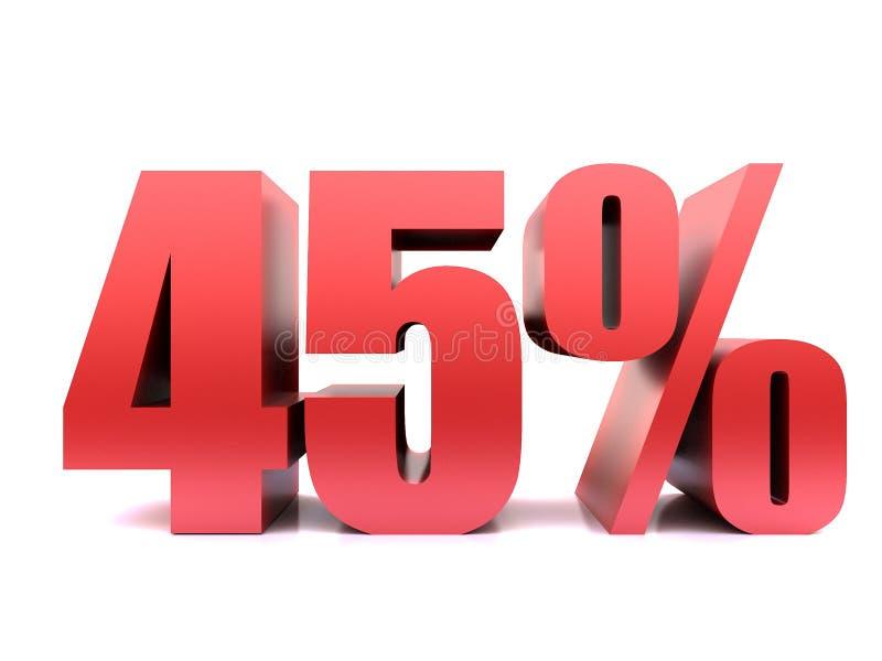 Quarante-cinq symbole des pour cent 45% 3d illustration de vecteur