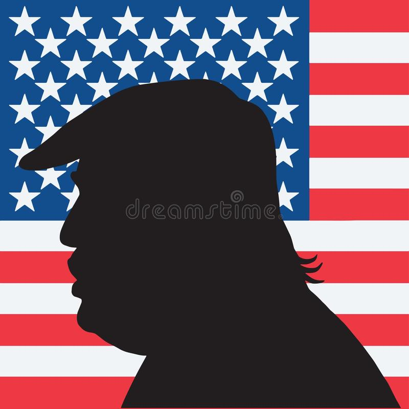 quarante-cinquième Président des États-Unis Donald Trump Portrait Silhouette avec le drapeau américain