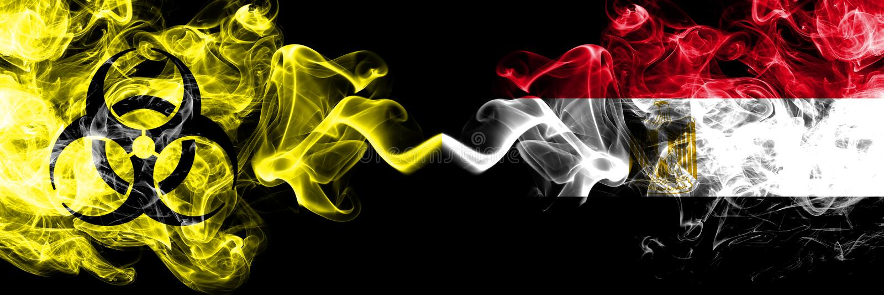 Quarantine in Egypt, Egyptian. Coronavirus COVID-19 lockdown. Smoky mystic flag of Egypt, Egyptian with biohazard symbolplaced. Side by side royalty free illustration