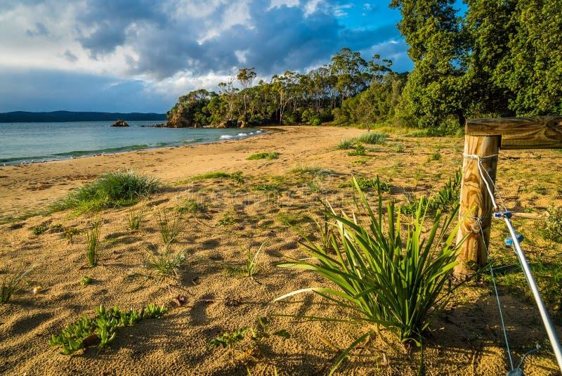 Quarantine la bahía en Eden en Australia en la salida del sol foto de archivo