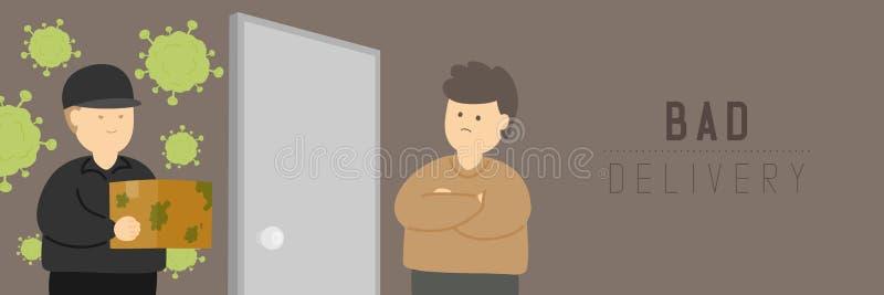 Quarantine Man on-line shopping com entrega ruim mantém distância para proteger o surto COVID-19, Distanciamento social fica em c ilustração royalty free