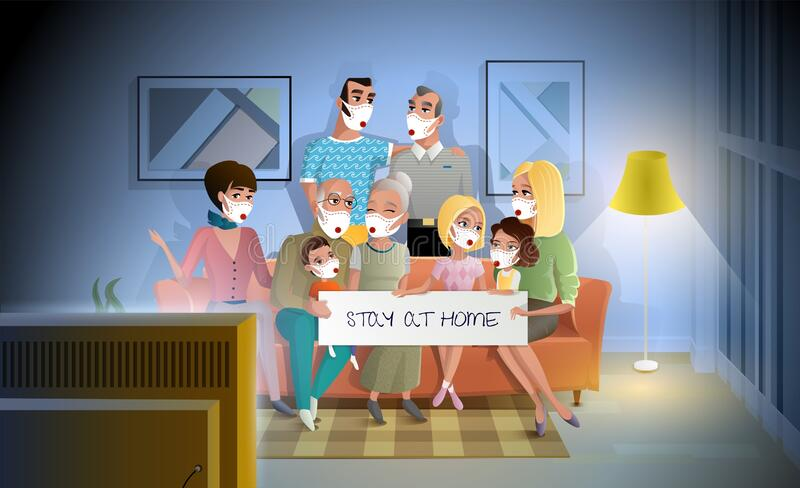 Quarantined Family Stay at Home During Pandemic stock image